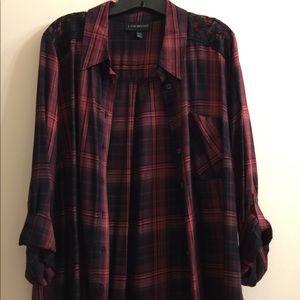 Lane Bryant plaid button down blouse